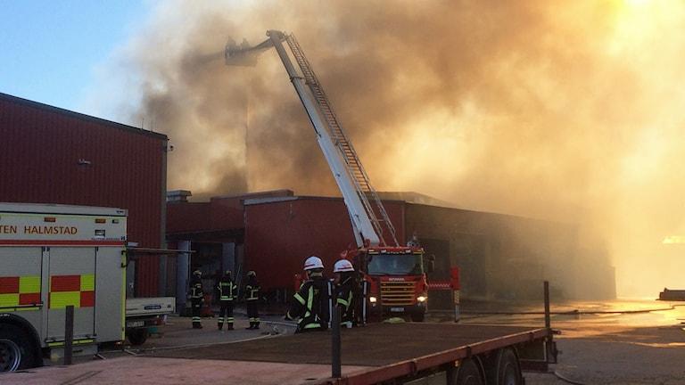 En brand rasar sedan midnatt i Falkenbergs hamn i ett företagshotell.