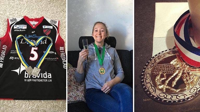 Silvermedaljer från karriären, och bild från när mina bästa vänner firar mig och en framgångsrik karriär (trots ett gäng silvermedaljer genom åren).