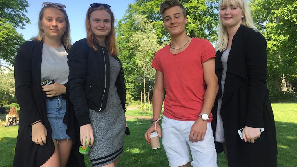 Jonna Andreasson, Sandra Karlsson, Isak Mårtensson och Alma Klasson.