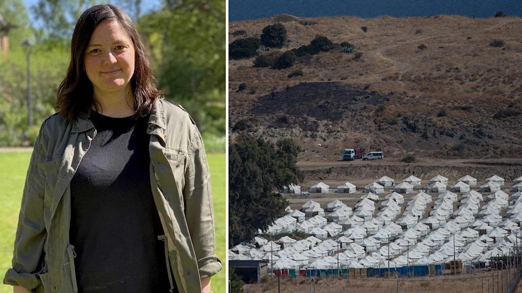 Till vänster: Porträttbild på en kvinna i utomhusmiljö Till höger: Hundratals vita tält utgör ett tillfälligt flyktingläger.