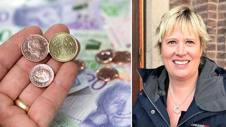 Till vänster: Svenska pengar. Till höger: Mikaela Waltersson (M)