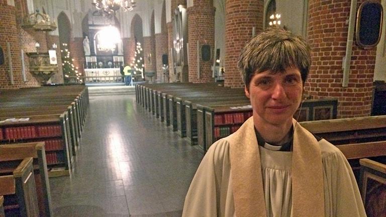 Susanne Tronsson höll i julottan på S:t Nikolai Kyrka i Halmstad.