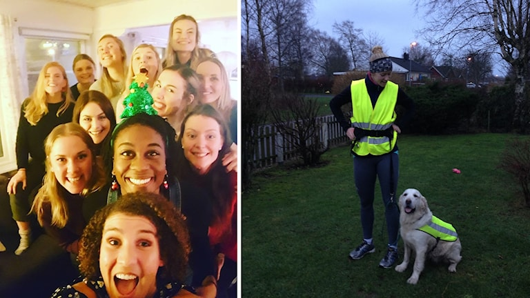 Gruppbild från årets julbord med Hylte/Halmstad och jag och mina föräldrars hund på löprunda julafton för några år sedan.