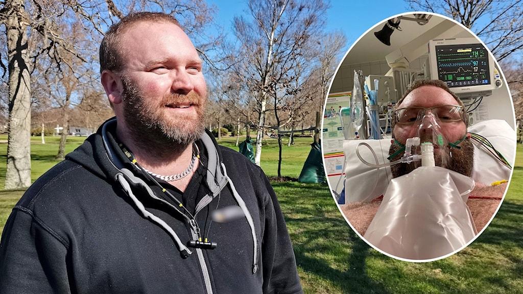 En inklippt bild på en man på sjukhus, intill står samma man frisk och kry.