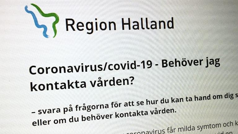 """En webbsida med rubriken """"Coronavirus/covid 19 -- Behöver jag kontakta vården?"""""""
