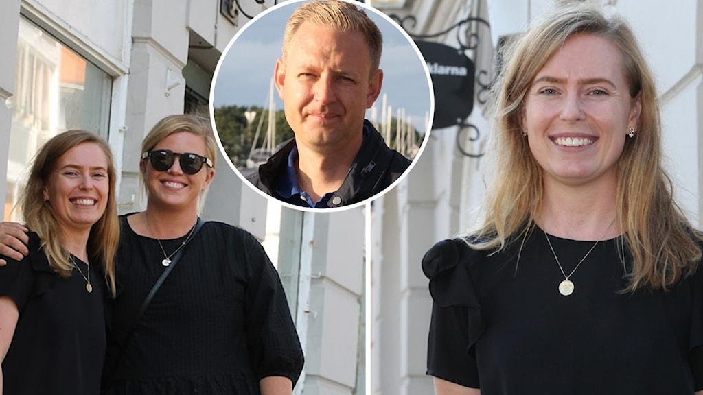 Två av de tre personalutvecklarna, Anna Essbrant Wallenius och Elin Alkeby, utanför kontoret i Falkenberg och en infälld bild på Per Svensson (S), kommunstyrelsens ordförande Falkenberg.