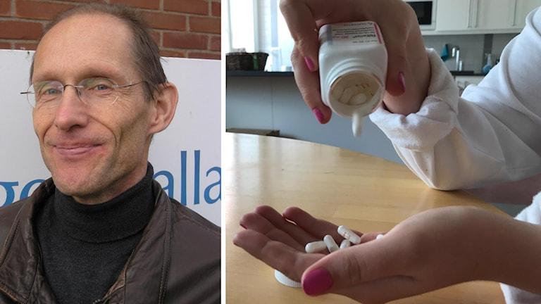 Håkan Jarbin som är chefsöverläkare på BUP i Halland och en burk ADHD-medicin.