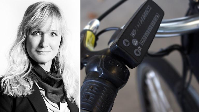 Carina Danielsson, rektor för yrkeshögskolan Campus Varberg, bredvid en elcykel.