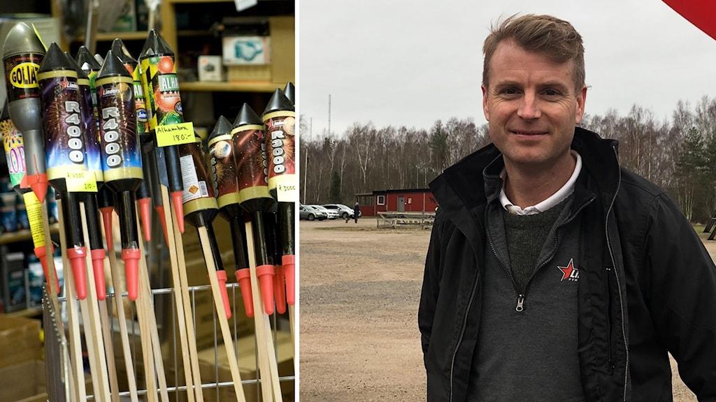 Till vänster bilder på raketer på pinne, till höger Sven-Ola Bengtsson, vd för en fyrverkerigrossist i Varberg. Utomhus vid en parkering.