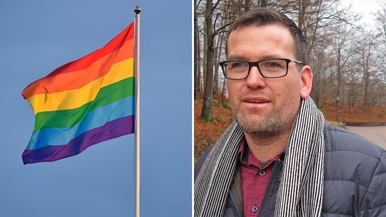 Kommunrådet Ronny Löfquist (S) i Hylte och en prideflagga.