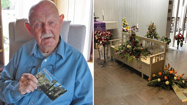 Rolandh Nilsson bredvid den soffa som han både föddes och begravdes i.