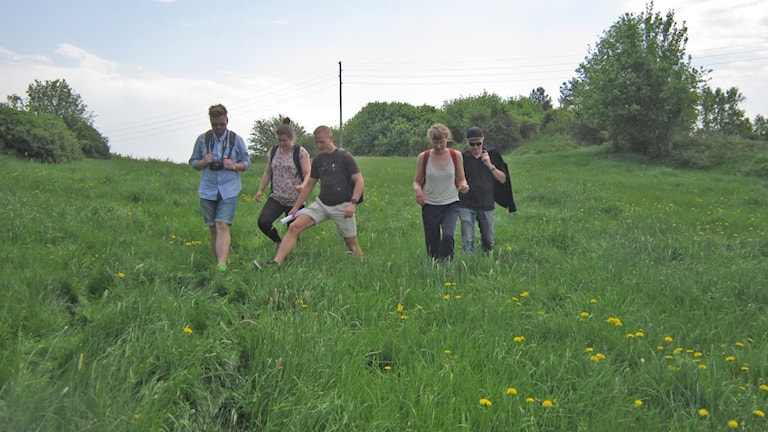 Fem på grönbete i (bebyggelseantikvarisk miljö i) Lunna by . Fr v Fredrik Badh, Natalie Clausen, Sophia Indrikson och Christofer Irvefjord. Längst till höger läraren Ulrik.