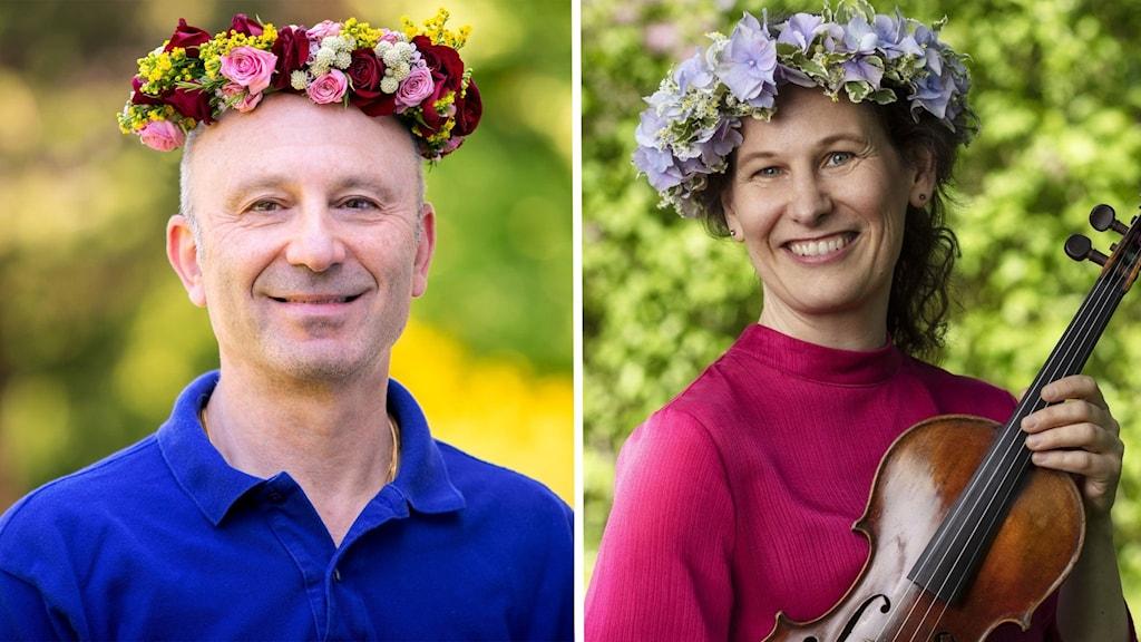 Mikael Dolsten och Malin Broman sommarpratar 2021, båda med blomkransar i håret.