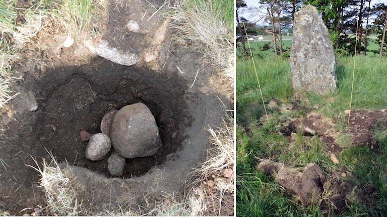En grop som grävts olagligen på gravfältet Örelid.