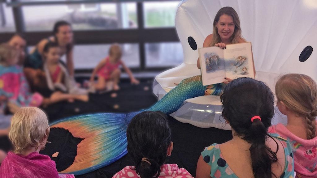 Barnen fick träffa sjöjungfrun Athiraa, som läste H C Andersens klassiska saga för dem.