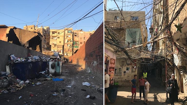 Sopberg och farliga elledningar kantar flyktinglägret Shatila.