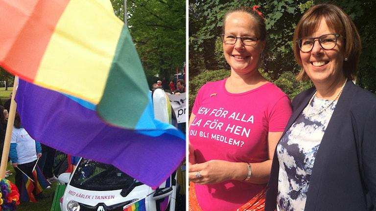 Monica Karlsson och Linda Bjerman är med i samarbetet kring Halmstad Pride.