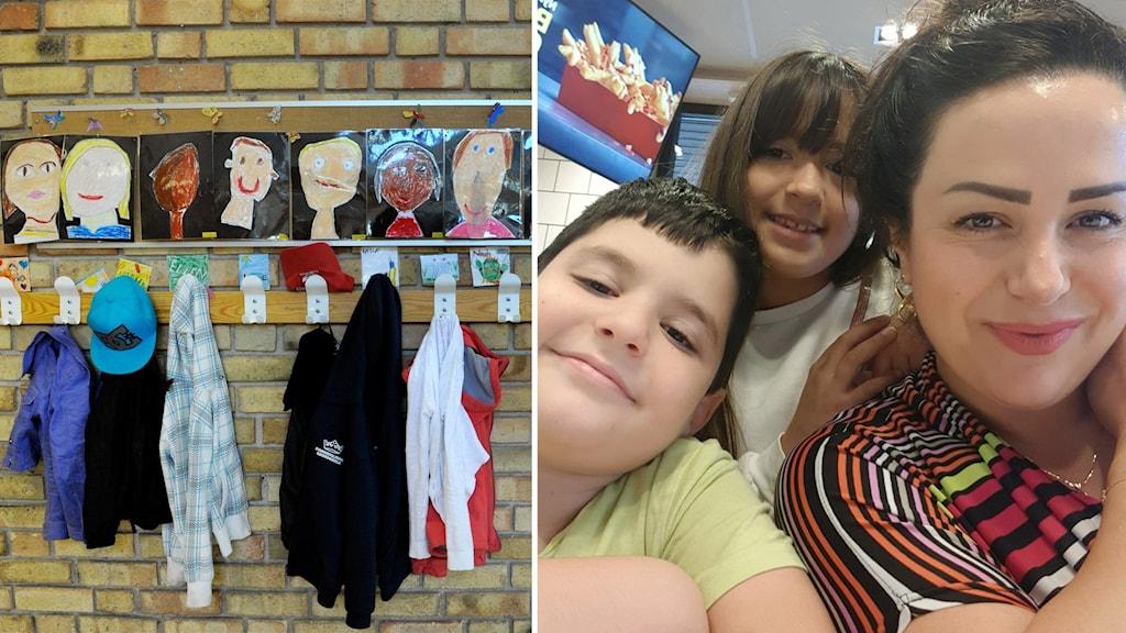 Till vänster kläder som hänger i en skolkorridor. Till höger en vuxen med två små barn.