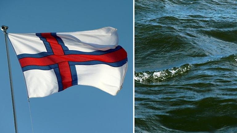 Färöarnas flagga och bild på vågor.