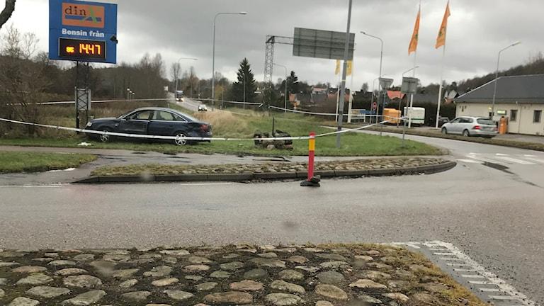 Bensinstationen i Oskarström där bråket mellan bilisterna utspelades. Foto: Privat.