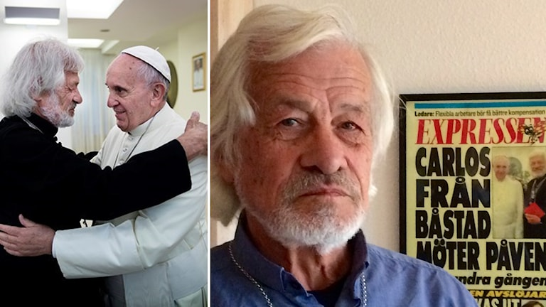 Carlos Luna träffar påven, splitbild