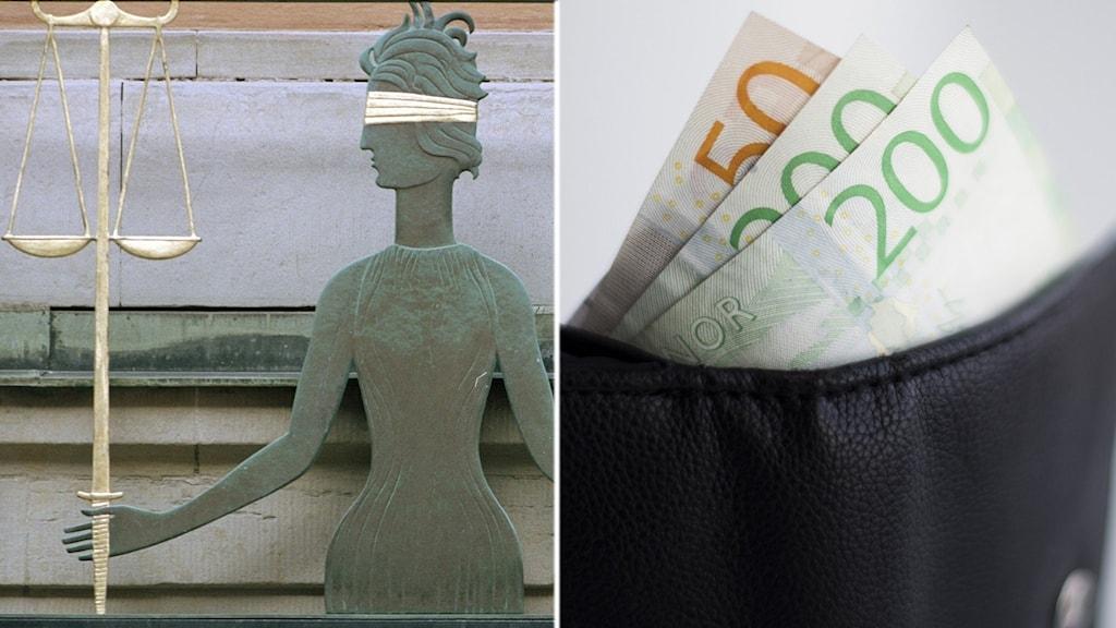 Bilden visar fru Justitia samt en plånbok med sedlar.