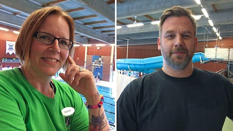 Petter Sikén och Susanne Dahl i en splitbild inne på ett badhus i Kungsbacka. Susanne bär en grön t-shirt och Peter en svart tröja.