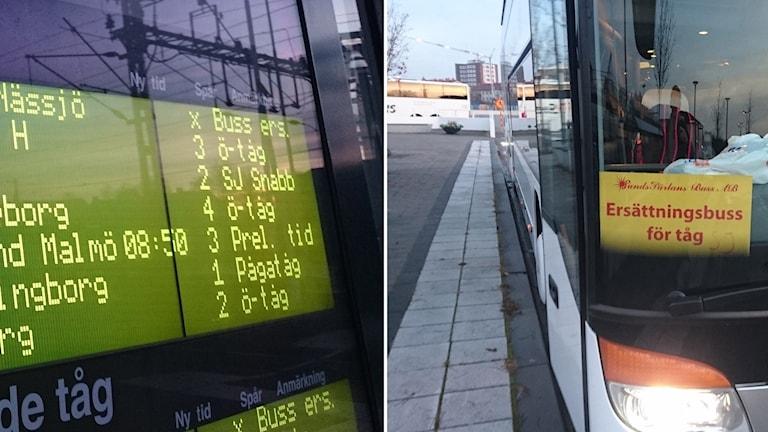 Buss ersätter Krösatågen.