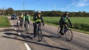 Flera cyklister i reflexvästar cyklar en solig dag.