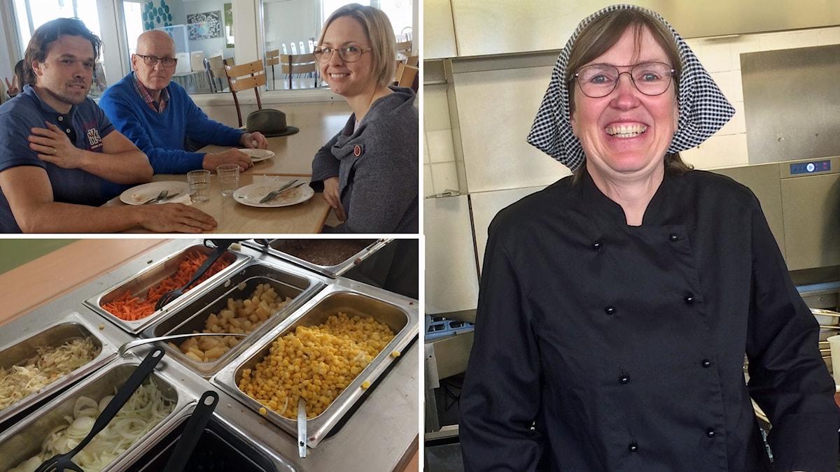 """""""Det är bara positivt att föräldrarna kommer hit"""" säger kökschefen Carina Gustafsson om att Magnus och Lena Appelgren och flera andra provsmakar skolmaten. Här tillsammans med politikern Anders Ekström."""
