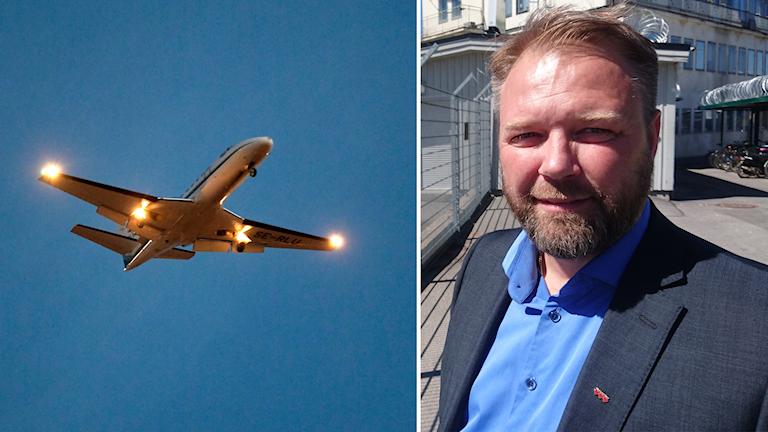 Dubbelbild: Flygplan i luften och porträttbild på Magnus Edman