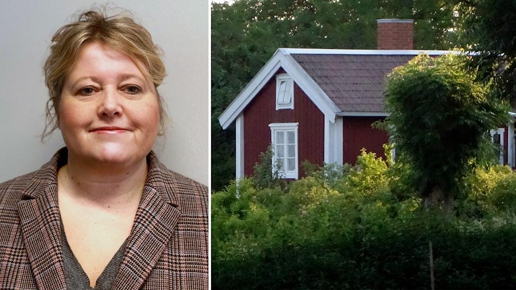 Till vänster: Porträttbild på en kvinna i inomhusmiljö. Kvinnan står vid en vit vägg, ler, och tittar in i kameran. Hon är klädd i en rutig kavaj. Till höger: En röd stuga med vita knutar i en lummig utomhusmiljö.