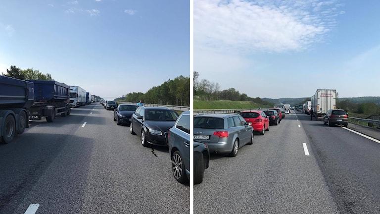 Det är långa köer på E6:an efter en lastbilsolycka.