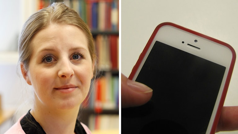 Therése Geber-Bergstrand och splitbild med mobiltelefon