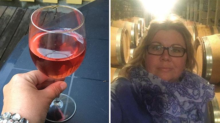 Jenny Björklund och vinglas