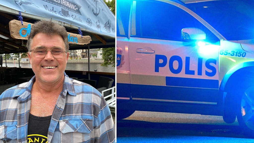 Till vänster en leende man i glasögon och flanellskjorta. Till höger på bilden en polisbil.