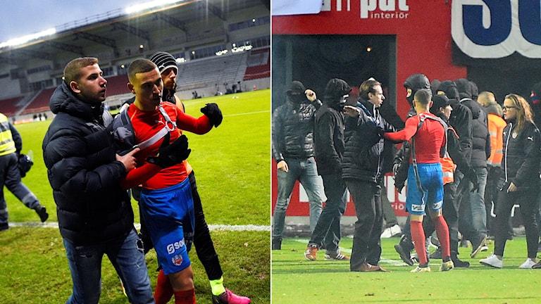 Jordan Larsson blev attackerad av maskerade män efter slutsignalen.