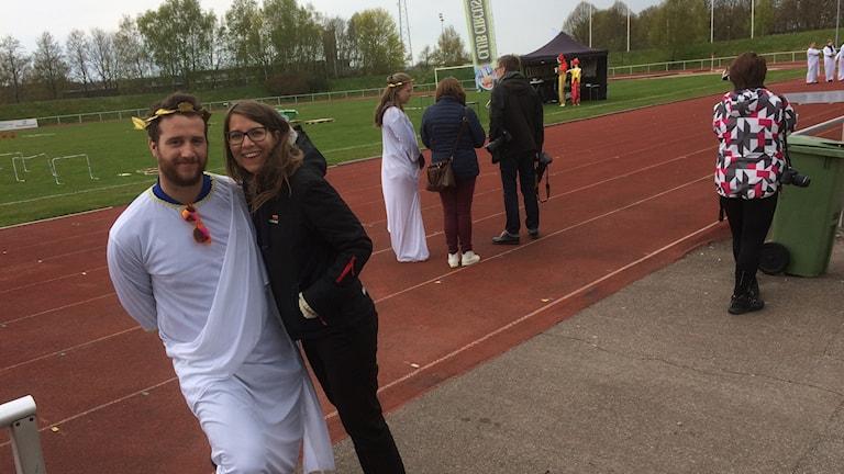 Mårten Dalman från Halmstads studentkår med Karin Back, processledare på Kulturförvaltningen.