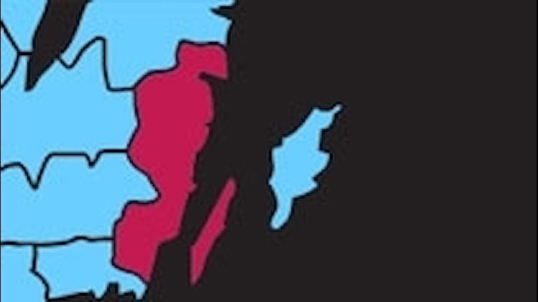 Södra Sverige med markerat Kalmar län