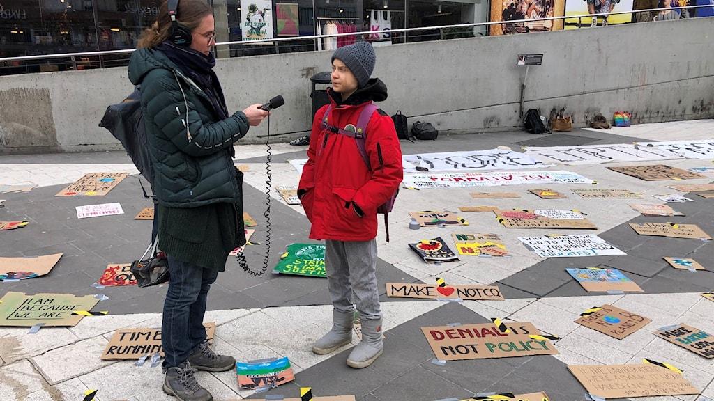 Klimataktivisten Greta Thunberg intervjuas av Lotten Collin
