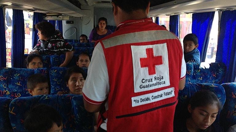 På bussarna med flyktingar går Erick Casilla från Röda Korset och erbjuder hjälp med telefonsamtal till en anhörig. Foto: Lotten Collin/SR