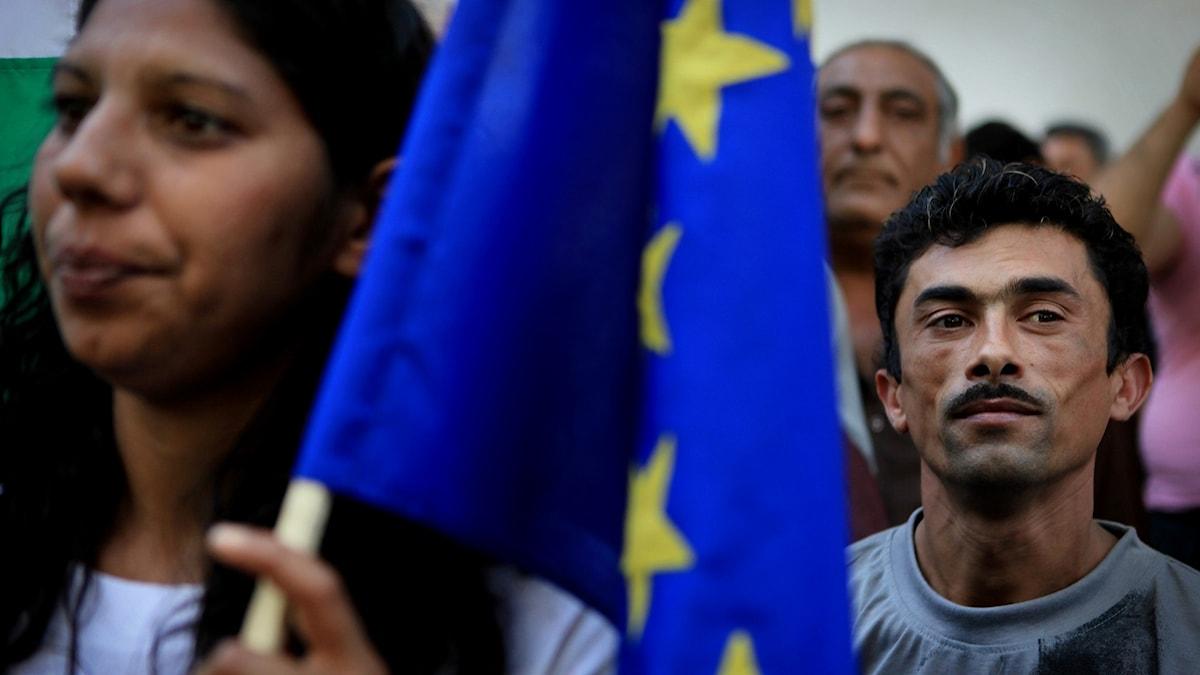 Bulgariska romer protesterar