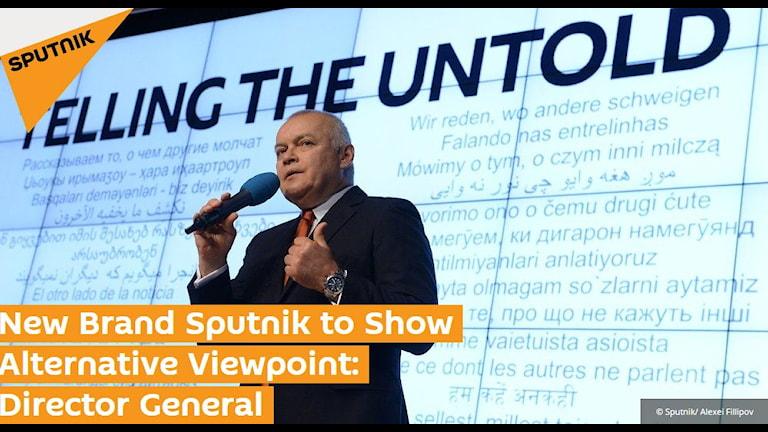 Chefen för den ryska nyhetsbyrån Rossia Segodjna, Dimitrij Kiseljov, vid lanseringen av multimedianyhetsbyrån Sputnik i november i år.