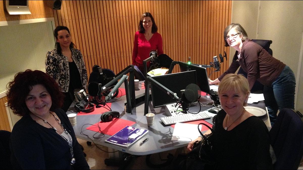 Utrikesminister Margot Wallström(S) i Konfliktstudion. Foto: Ekot