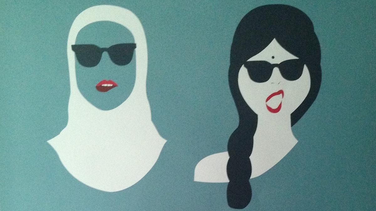 """Del av affisch från utställningen """"The good malaysian woman"""" i Kuala Lumpur 2014. Foto: Åsa Furuhagen/SR"""