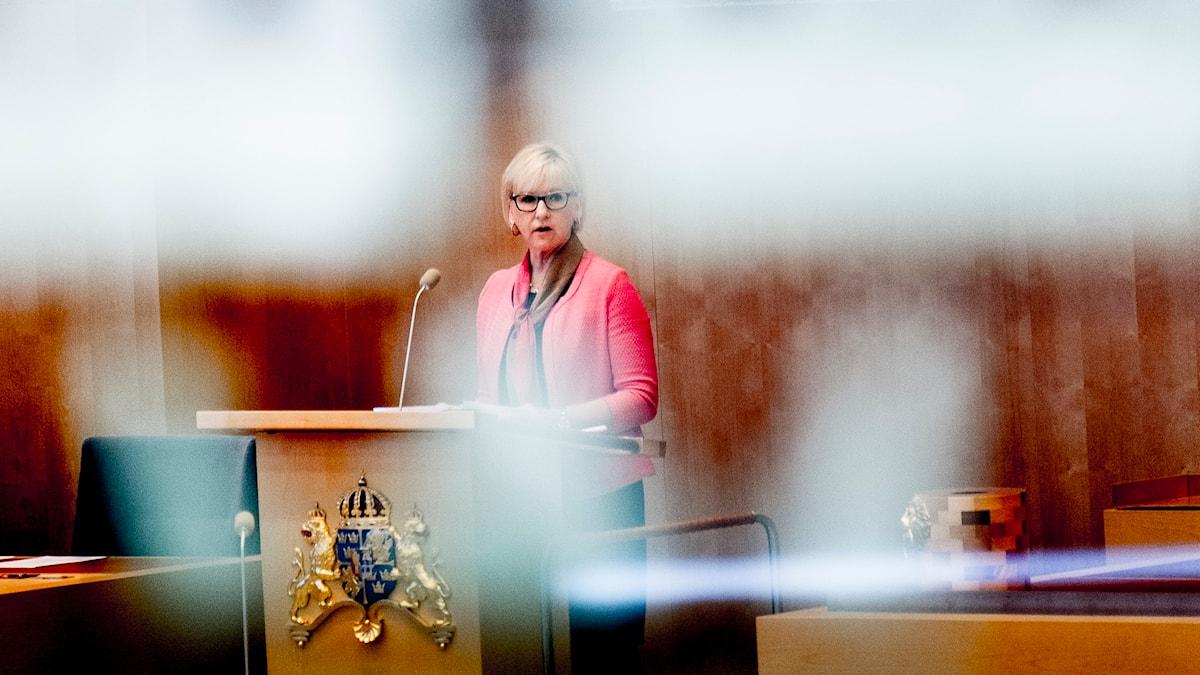 Margot Wallström (S) under en utrikespolitisk debatt i riksdagen. Foto: Magnus Hjalmarson Neideman/TT.