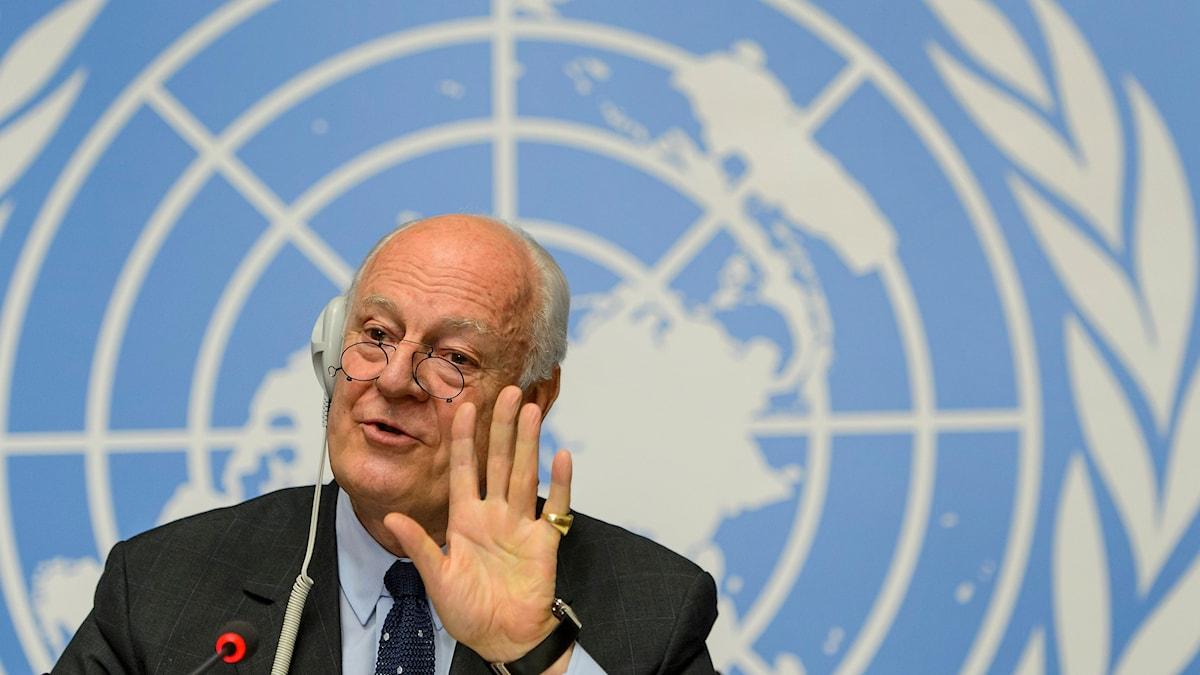 FN-sändebudet för Syrien Staffan de Mistura. Foto:Jean-Christophe Bott/TT.