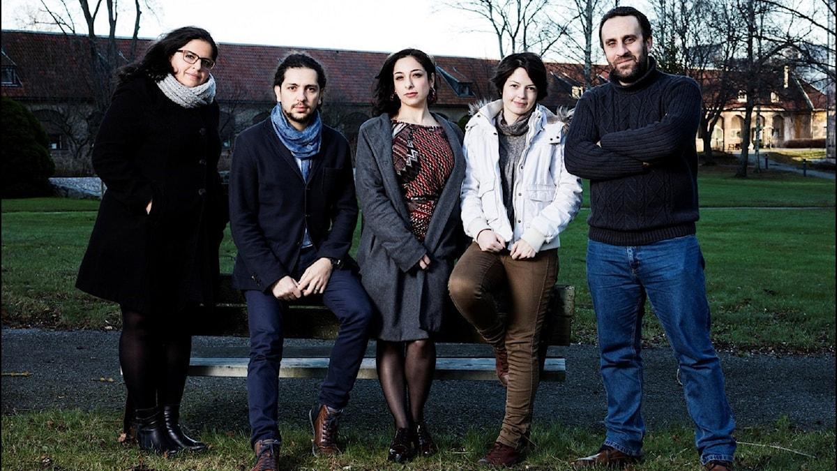 Konflikt. Mumena Alekhtyar, Ibrahim Mouhanna, Satanay Doughouz, Rafa Almasri, Jihad Rahmoon. P1 Sveriges Radio. Foto: Mattias Ahlm/Sveriges Radio