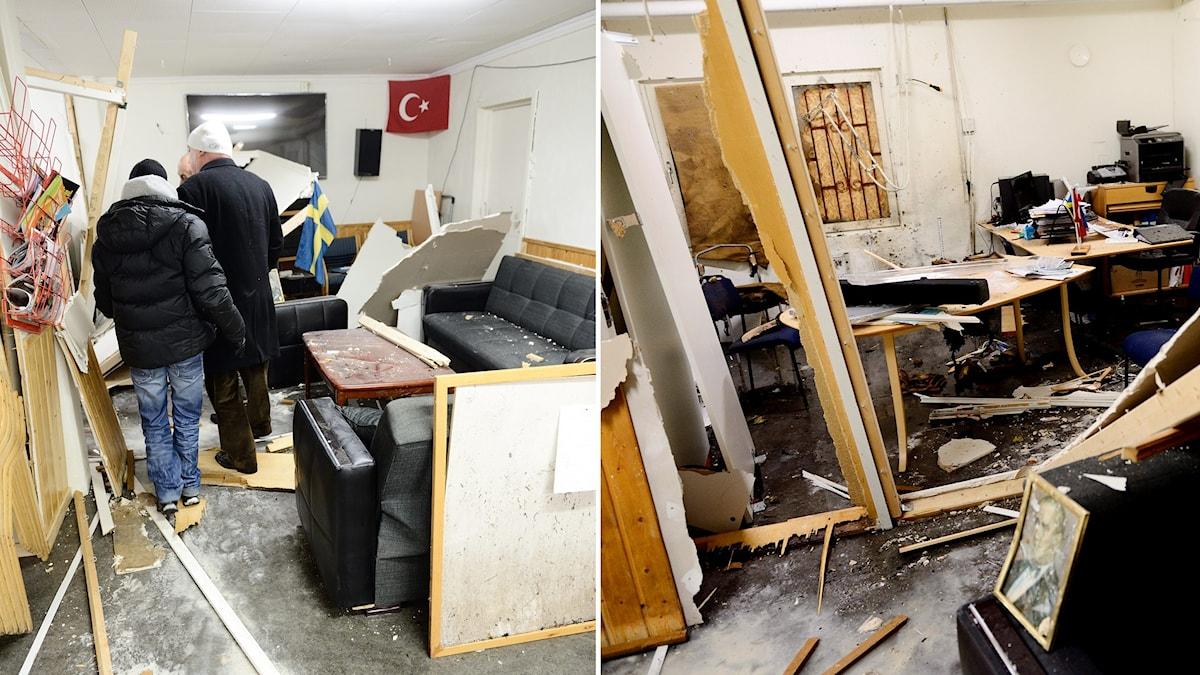 Turkiska kulturföreningens lokaler i Fittja efter explosionen där i februari.