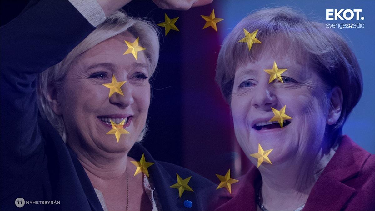 Front Nationals Marine Le Pen och Tysklands förbundskansler Angela Merkel. I både Frankrike och Tyskland är valrörelsen i full gång och frågan om EU:s framtid står högt på agendan.